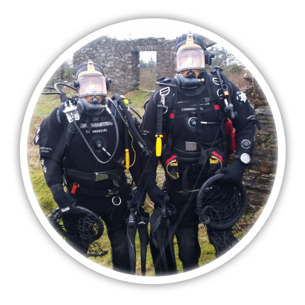 Neil & Ceri posing in their dive equipment - Pembrokeshire Scallops company profile