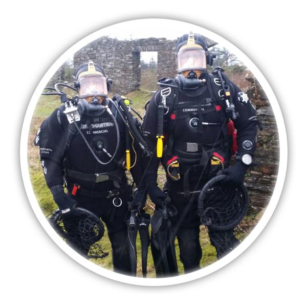 Neil & Ceri posing in their dive equipment - Pembrokeshire Scallops company profile